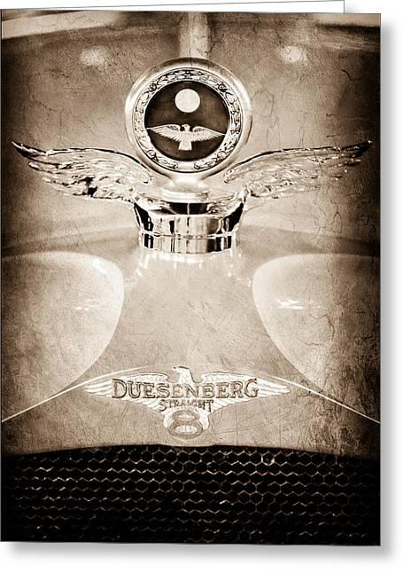 Boyce Motometer Greeting Cards - 1926 Duesenberg Model A Boyce Motometer - Hood Ornament Greeting Card by Jill Reger