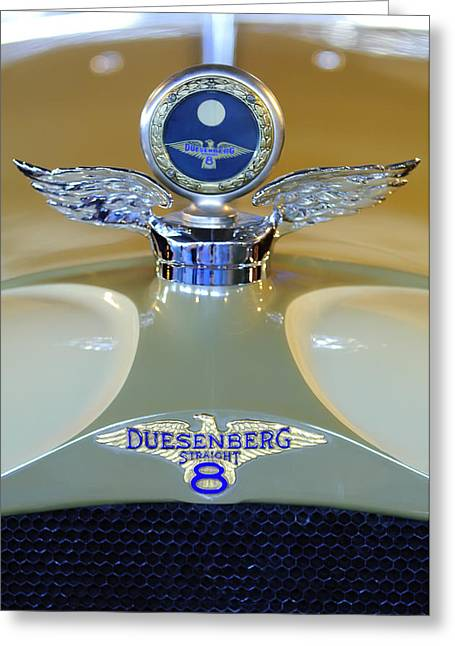 Vintage Hood Ornament Greeting Cards - 1926 Duesenberg Model A Boyce MotoMeter Greeting Card by Jill Reger