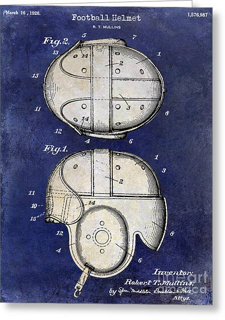 Ny Jets Greeting Cards - 1926 Football Helmet Patent Drawing 2 Tone Blue Greeting Card by Jon Neidert