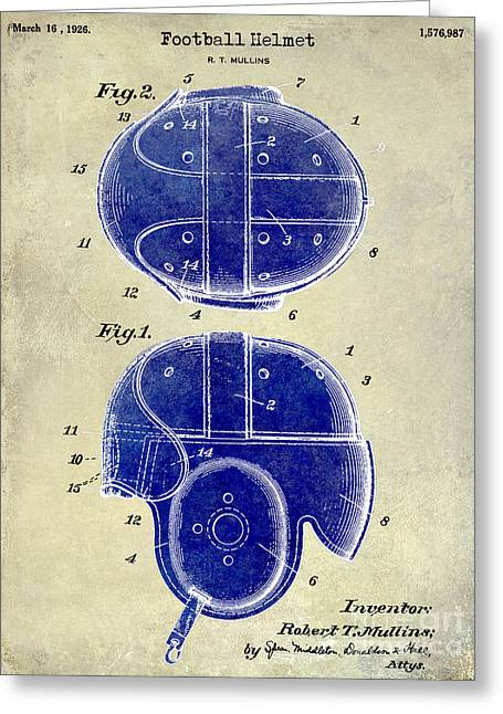 Fantasy Football Greeting Cards - 1926 Football Helmet Patent Drawing 2 Tone Greeting Card by Jon Neidert