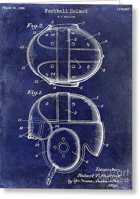 Fantasy Football Greeting Cards - 1926 Football Helmet Patent Drawing Blue Greeting Card by Jon Neidert
