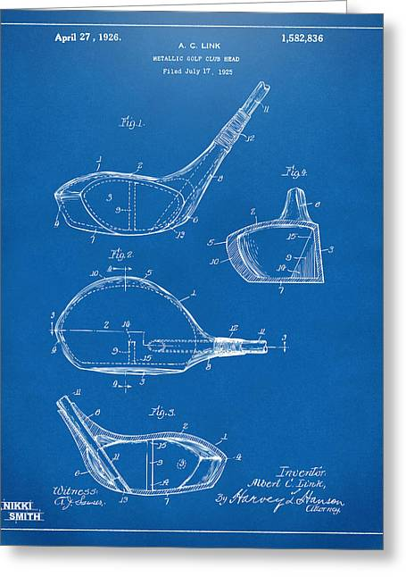 Gift For Greeting Cards - 1926 Golf Club Patent Artwork - Blueprint Greeting Card by Nikki Marie Smith