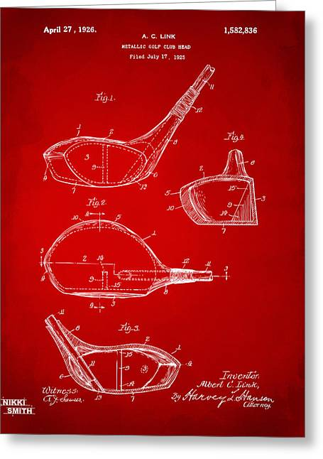 Gift For Greeting Cards - 1926 Golf Club Patent Artwork - Red Greeting Card by Nikki Marie Smith