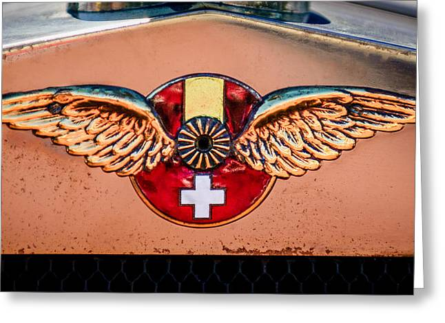 Suiza Greeting Cards - 1926 Hispano-Suiza H6B Torpedo Emblem Greeting Card by Jill Reger