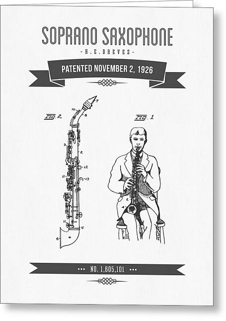 Saxophone Greeting Cards - 1926 Soprano Saxophone Patent Drawing Greeting Card by Aged Pixel