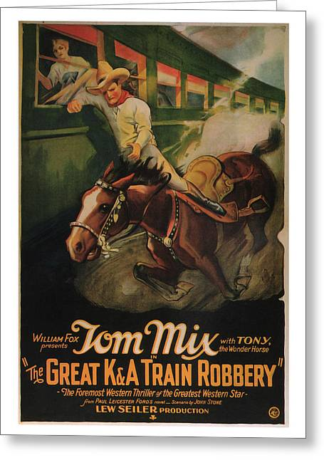 Saloons Mixed Media Greeting Cards - 1926 The Great Train Robbery Movie Art Greeting Card by Presented By American Classic Art