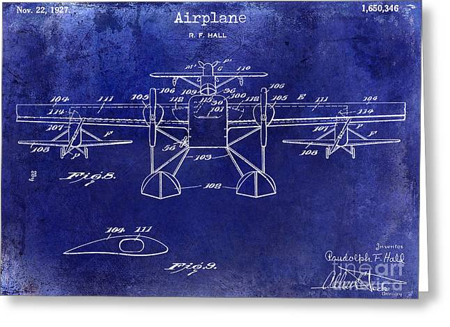 Vintage Aircraft Greeting Cards - 1927 Airplane Patent Drawing Blue Greeting Card by Jon Neidert