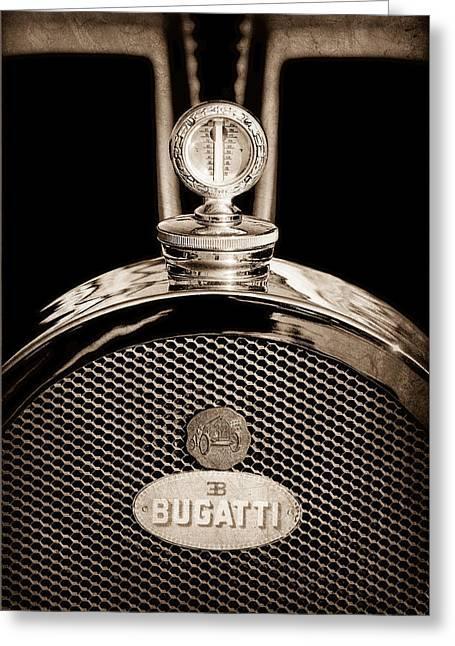 Bugatti Vintage Car Greeting Cards - 1927 Bugatti Replica Hood Ornament - Emblem Greeting Card by Jill Reger