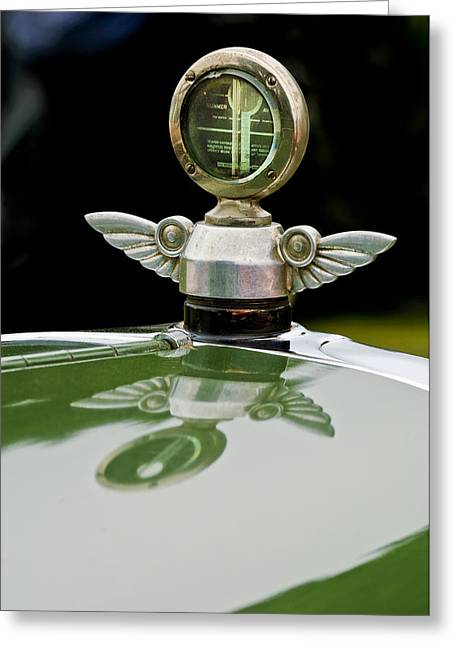 Vintage Hood Ornaments Greeting Cards - 1927 Chandler 4-Door Hood Ornament Greeting Card by Jill Reger