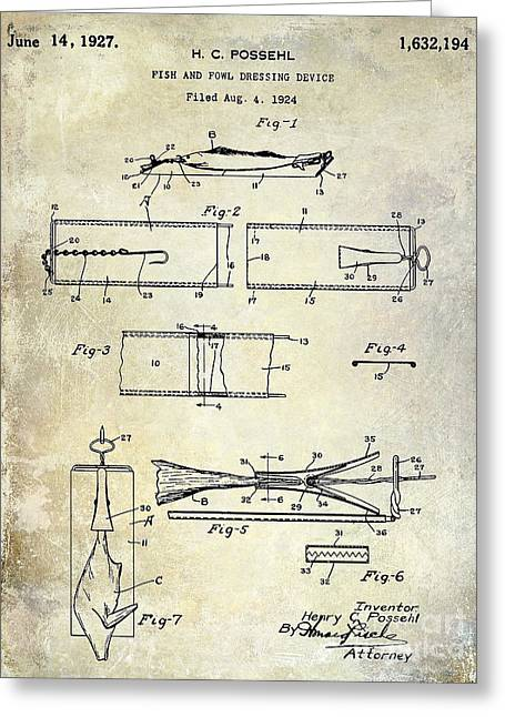 Naples Greeting Cards - 1927 Fish and Fowl cleaning Device Patent Greeting Card by Jon Neidert