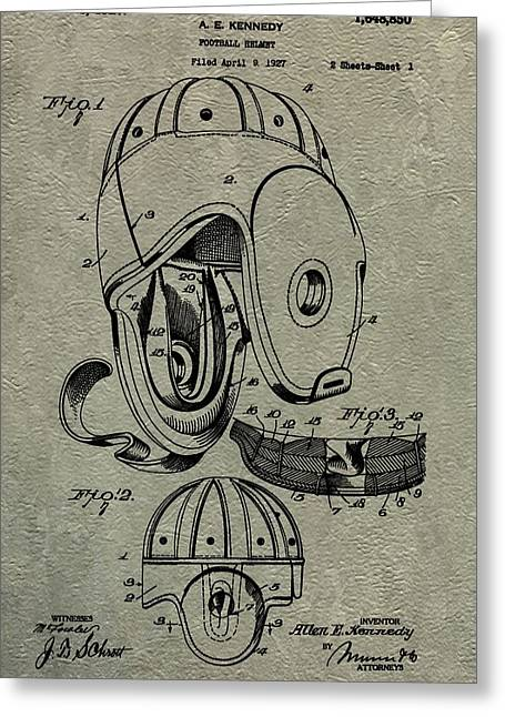 Fame Mixed Media Greeting Cards - 1927 Football Helmet Patent Greeting Card by Dan Sproul