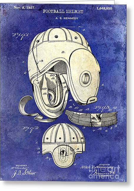 Ny Jets Greeting Cards - 1927 Football Helmet Patent Drawing 2 Tone Blue Greeting Card by Jon Neidert