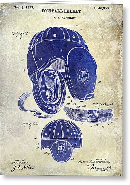 Fantasy Football Greeting Cards - 1927 Football Helmet Patent Drawing 2 Tone Greeting Card by Jon Neidert