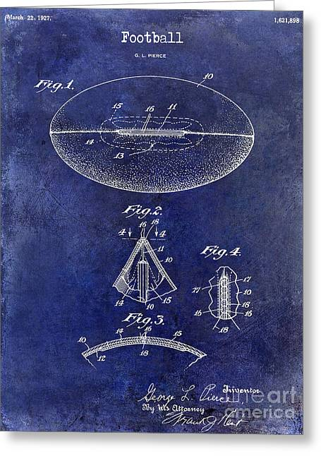 Fantasy Football Greeting Cards - 1927 Football Patent Drawing Blue Greeting Card by Jon Neidert