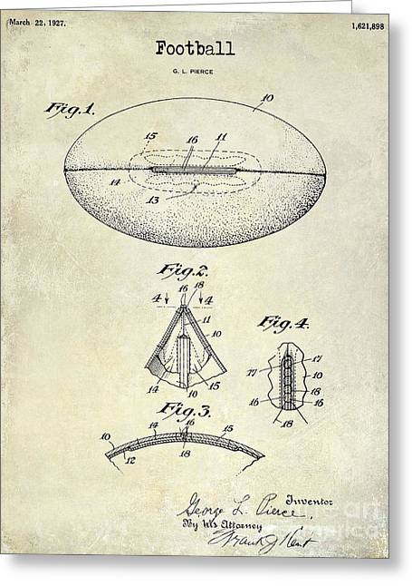 Fantasy Football Greeting Cards - 1927 Football Patent Drawing Greeting Card by Jon Neidert
