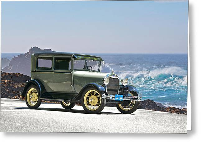 Model A Sedan Greeting Cards - 1927 Ford Model A Sedan Greeting Card by Dave Koontz