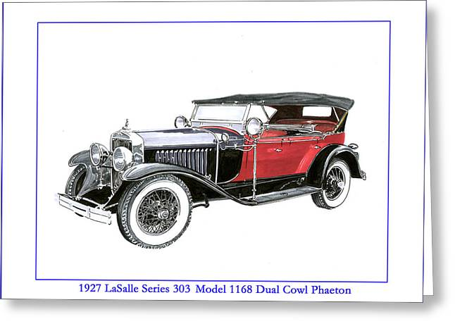 Stretching Drawings Greeting Cards - 1927 LaSalle Dual Cowl Phaeton Greeting Card by Jack Pumphrey