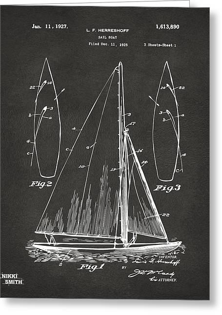 Navy Cross Greeting Cards - 1927 Sailboat Patent Artwork - Blueprint Greeting Card by Nikki Marie Smith