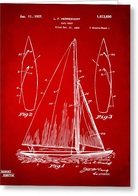 Navy Cross Greeting Cards - 1927 Sailboat Patent Artwork - Red Greeting Card by Nikki Marie Smith