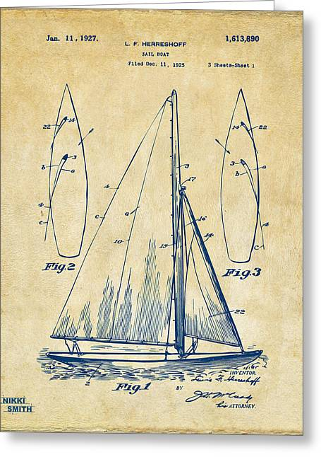 Sailboat Art Greeting Cards - 1927 Sailboat Patent Artwork - Vintage Greeting Card by Nikki Marie Smith