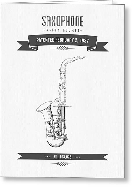 Saxophone Greeting Cards - 1937 Saxophone Patent Drawing Greeting Card by Aged Pixel