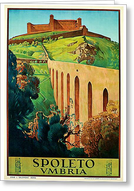 Old Country Roads Mixed Media Greeting Cards - 1927 Spoleto Vintage Travel Art Greeting Card by Presented By American Classic Art