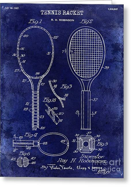 Racquet Photographs Greeting Cards - 1927 Tennis Racket Patent Drawing Blue Greeting Card by Jon Neidert