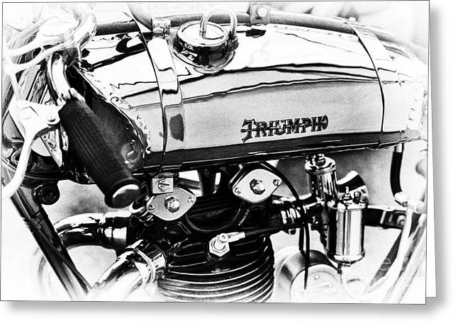 1927 Triumph Tt Racer Monochrome Greeting Card by Tim Gainey