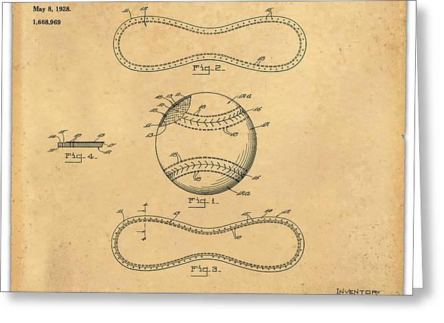 Balls Framed Prints Greeting Cards - 1928 Baseball Patent Art Maynard 1 Greeting Card by Nishanth Gopinathan