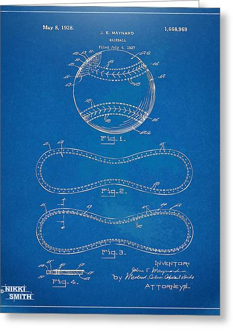 Hobby Greeting Cards - 1928 Baseball Patent Artwork - Blueprint Greeting Card by Nikki Smith
