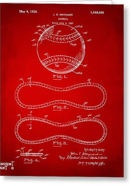 Baseball Player Greeting Cards - 1928 Baseball Patent Artwork Red Greeting Card by Nikki Marie Smith