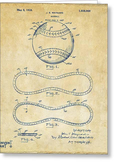 Baseball Game Greeting Cards - 1928 Baseball Patent Artwork Vintage Greeting Card by Nikki Marie Smith