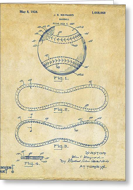 Player Drawings Greeting Cards - 1928 Baseball Patent Artwork Vintage Greeting Card by Nikki Marie Smith