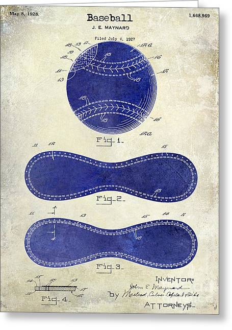 Baseball Gloves Photographs Greeting Cards - 1928 Baseball Patent Drawing 2 Tone Greeting Card by Jon Neidert