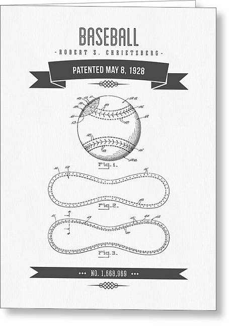 1928 Baseball Patent Drawing Greeting Card by Aged Pixel