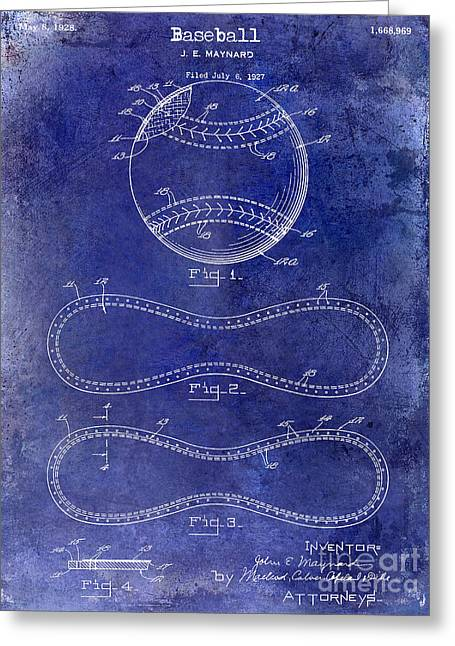 Baseball Bat Greeting Cards - 1928 Baseball Patent Drawing  blue Greeting Card by Jon Neidert