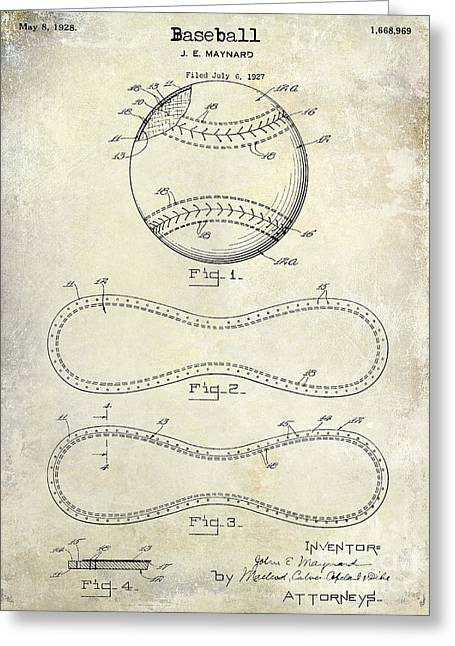 1928 Baseball Patent Drawing  Greeting Card by Jon Neidert