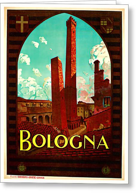 Old Country Roads Mixed Media Greeting Cards - 1928 Bologna -  Vintage Travel Art Greeting Card by Presented By American Classic Art