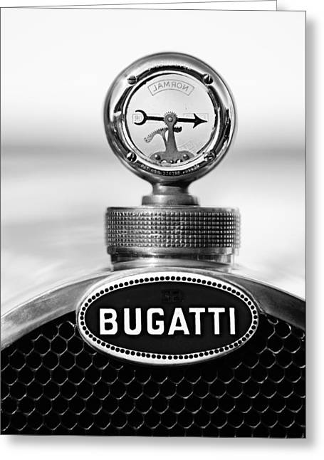 Motometer Greeting Cards - 1928 Bugatti Type 44 Cabriolet Hood Ornament - Emblem Greeting Card by Jill Reger