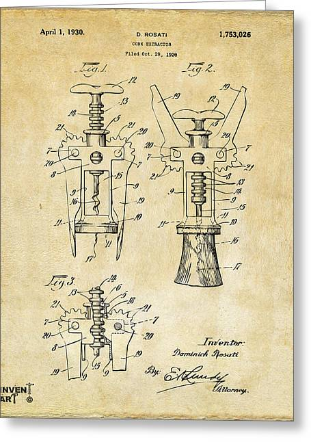 Wine Cork Greeting Cards - 1928 Cork Extractor Patent Art - Vintage Black Greeting Card by Nikki Marie Smith