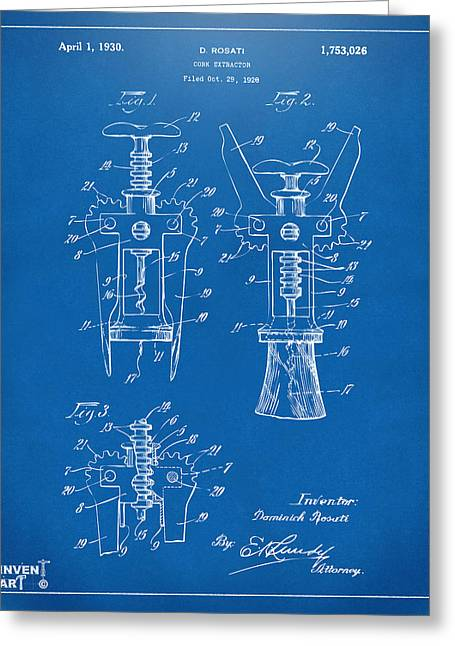 Drinkers Greeting Cards - 1928 Cork Extractor Patent Artwork - Blueprint Greeting Card by Nikki Marie Smith