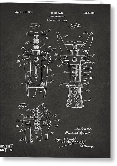 Corkscrew Greeting Cards - 1928 Cork Extractor Patent Artwork - Gray Greeting Card by Nikki Marie Smith