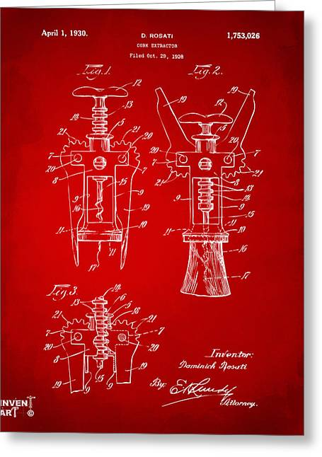 Drinkers Greeting Cards - 1928 Cork Extractor Patent Artwork - Red Greeting Card by Nikki Marie Smith