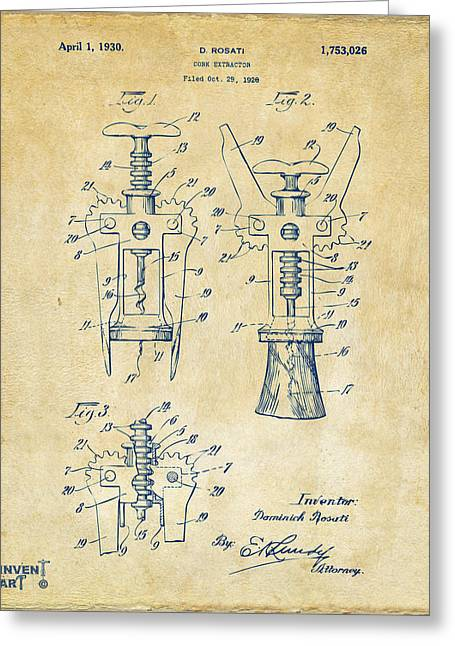 Cave Greeting Cards - 1928 Cork Extractor Patent Artwork - Vintage Greeting Card by Nikki Marie Smith