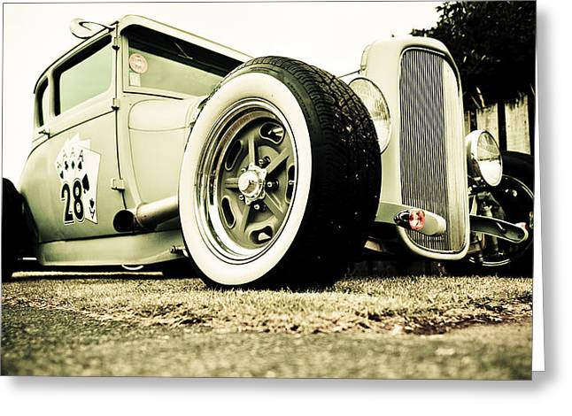 Custom Automobile Greeting Cards - 1928 Ford Model A Hot Rod Greeting Card by Phil