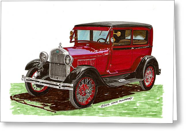 Pen And Ink Framed Prints Greeting Cards - 1928 Ford model A two door Greeting Card by Jack Pumphrey