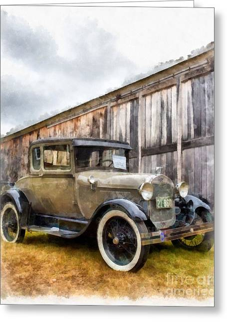 Automobile Artwork. Greeting Cards - 1928 Ford Model A Watercolor Greeting Card by Edward Fielding