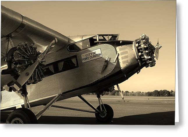 Ford Tri-motor Greeting Cards - 1928 Ford Tri-Motor Sepia Greeting Card by Warren Thompson