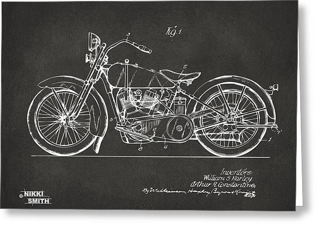 1924 Greeting Cards - 1928 Harley Motorcycle Patent Artwork - Gray Greeting Card by Nikki Marie Smith