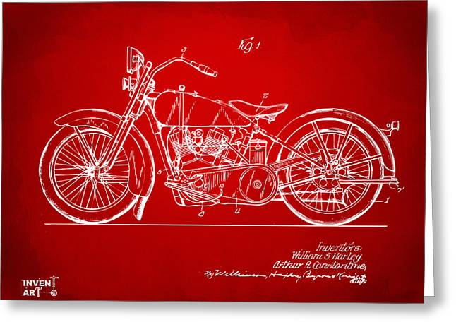 Us Open Greeting Cards - 1928 Harley Motorcycle Patent Artwork Red Greeting Card by Nikki Marie Smith